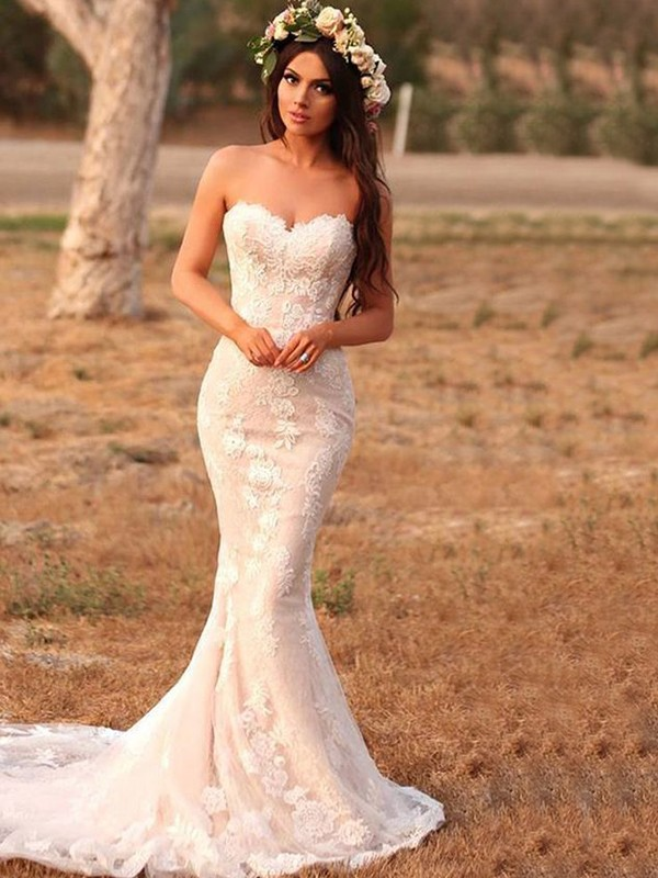 Mermaid Lace With Applique Sweetheart Sleeveless Sweep/Brush Train Wedding Dresses