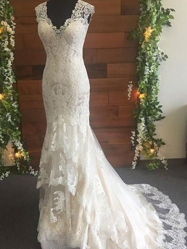 Mermaid Tulle Lace V-neck Sleeveless Sweep/Brush Train Wedding Dresses