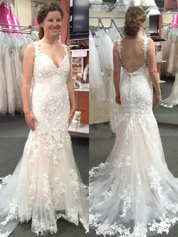 Mermaid Tulle With Applique Straps Sleeveless Sweep/Brush Train Wedding Dresses