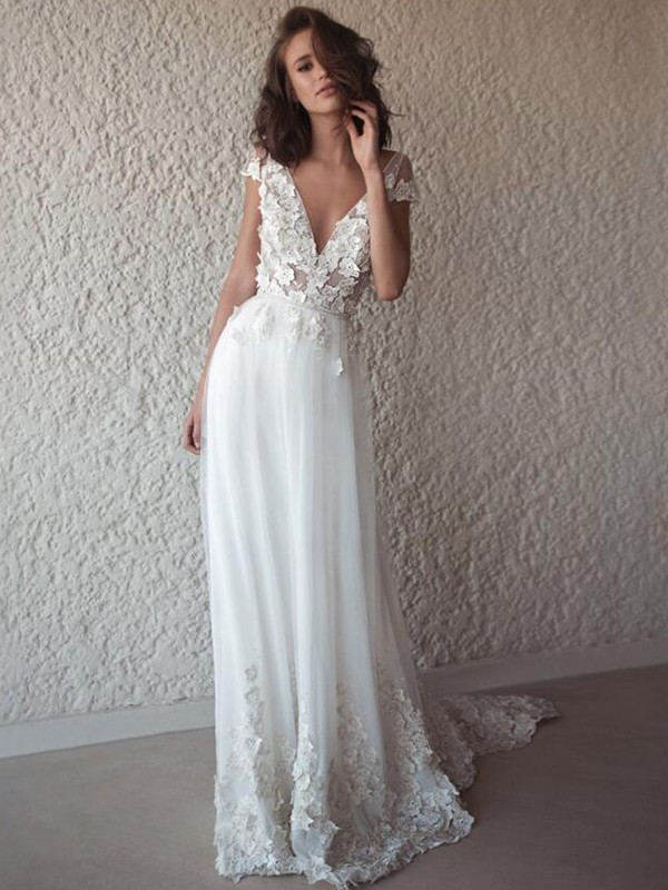 A-Line Tulle With Applique V-neck Sleeveless Sweep/Brush Train Wedding Dresses