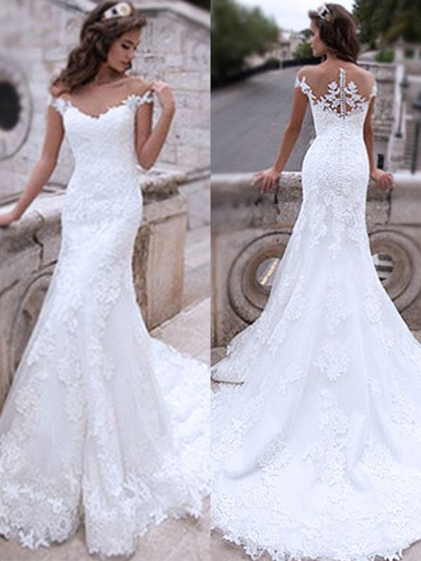 Mermaid Tulle With Applique Off-the-Shoulder Sleeveless Sweep/Brush Train Wedding Dresses