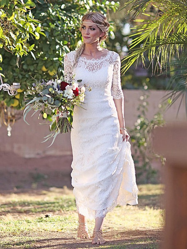 Sheath Lace Bateau 1/2 Sleeves Sweep/Brush Train Wedding Dresses