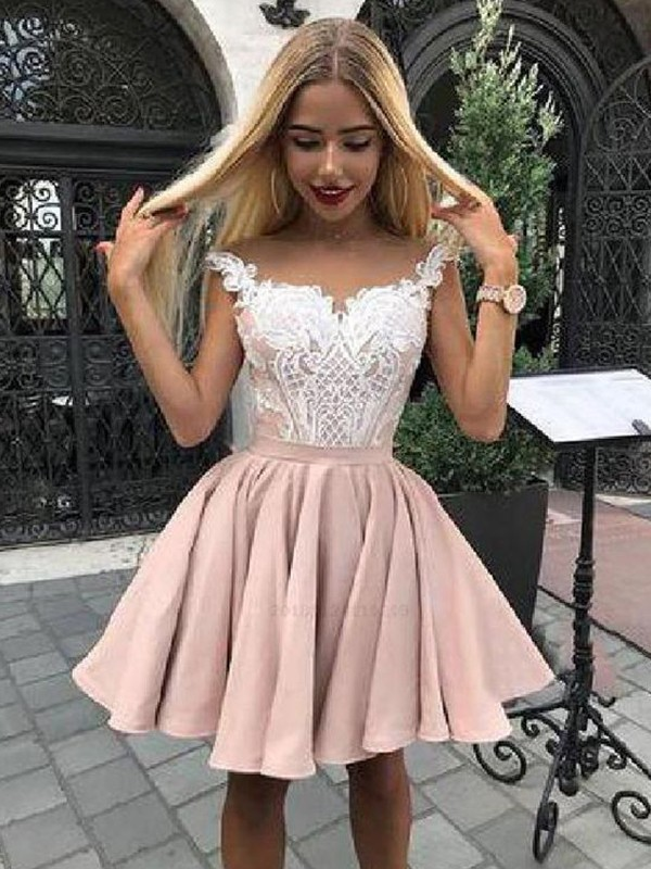 A-Line Satin Applique Off-the-Shoulder Sleeveless Short/Mini Homecoming Dresses