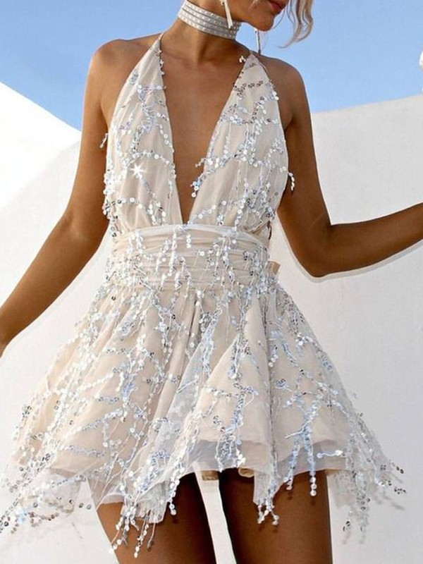 A-Line Chiffon Beading Halter Sleeveless Short/Mini Homecoming Dresses