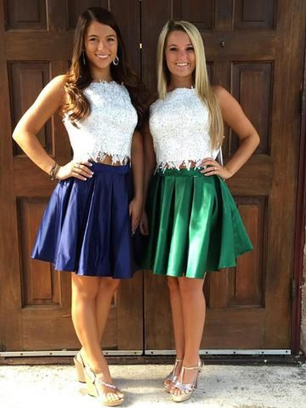A-Line Satin Ruffles Sheer Neck Sleeveless Short/Mini Two Piece Homecoming Dresses