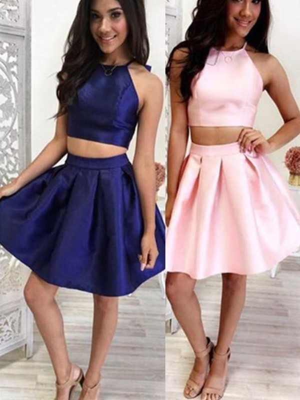 A-Line Satin Ruffles Halter Sleeveless Short/Mini Two Piece Homecoming Dresses