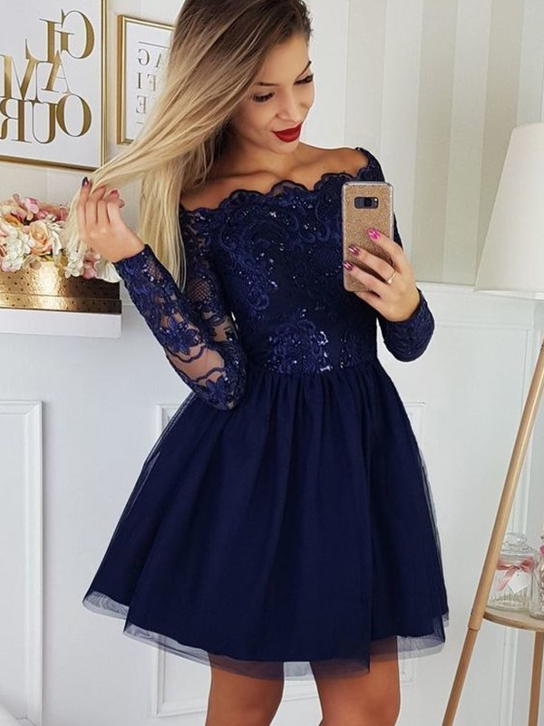 A-Line Tulle Applique Off-the-Shoulder Long Sleeves Short/Mini Homecoming Dresses