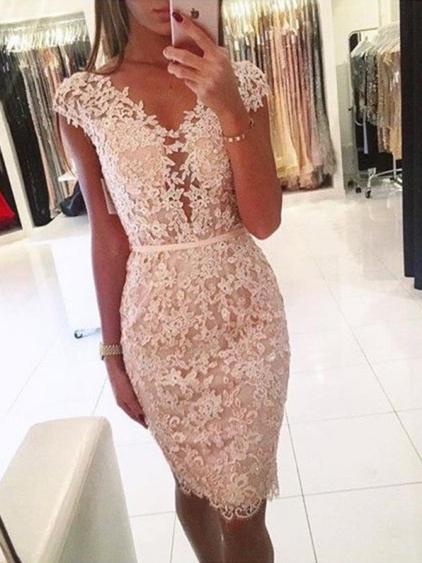 Sheath Lace V-neck Sleeveless Knee-Length Homecoming Dresses