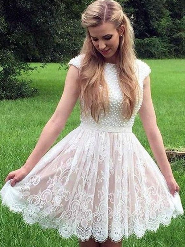 A-Line Lace Pearls Sheer Neck Sleeveless Short/Mini Homecoming Dresses