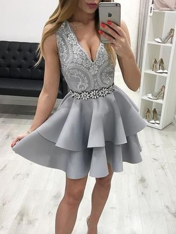 A-Line Satin Applique V-neck Sleeveless Short/Mini Homecoming Dresses
