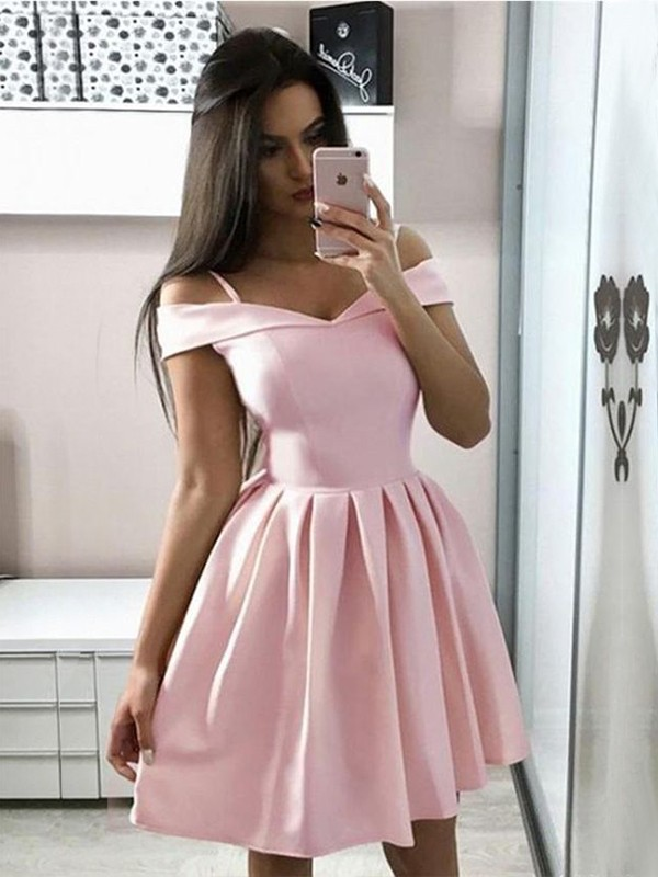 A-Line Satin Ruffles Off-the-Shoulder Sleeveless Short/Mini Homecoming Dresses