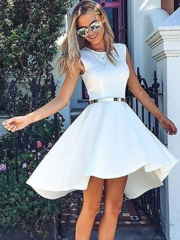 A-Line Satin Sash/Ribbon/Belt Scoop Sleeveless Short/Mini Homecoming Dresses