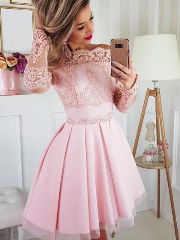 A-Line Satin Lace Off-the-Shoulder Long Sleeves Short/Mini Homecoming Dresses