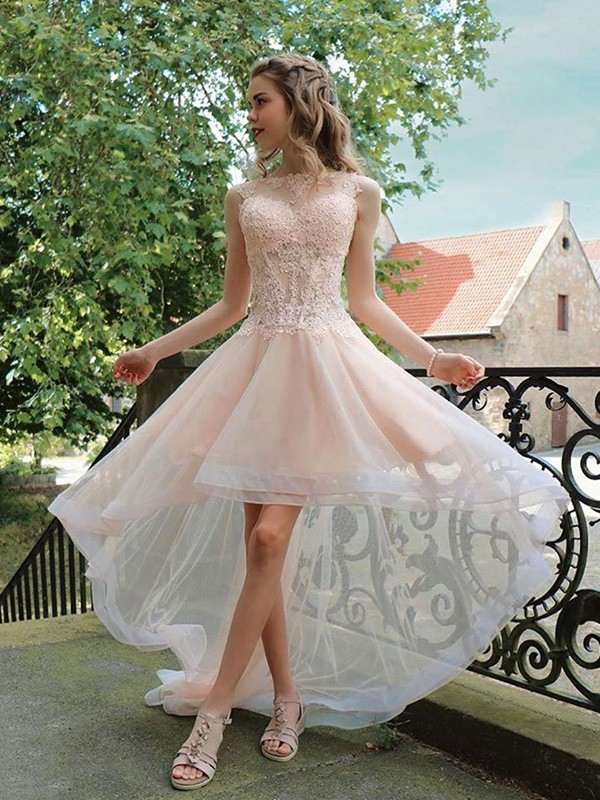 A-Line Organza Applique Sheer Neck Sleeveless Asymmetrical Homecoming Dresses