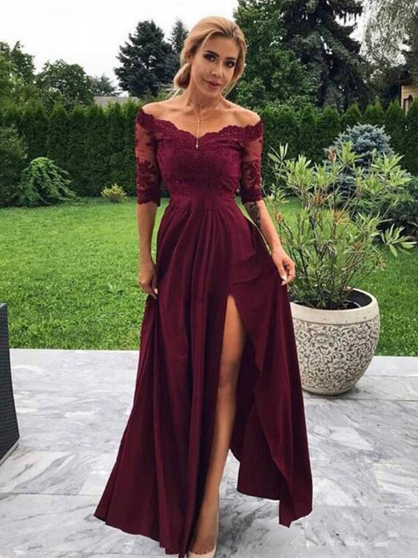 A-Line/Princess Silk like Satin Applique Off-the-Shoulder 1/2 Sleeves Floor-Length Dresses