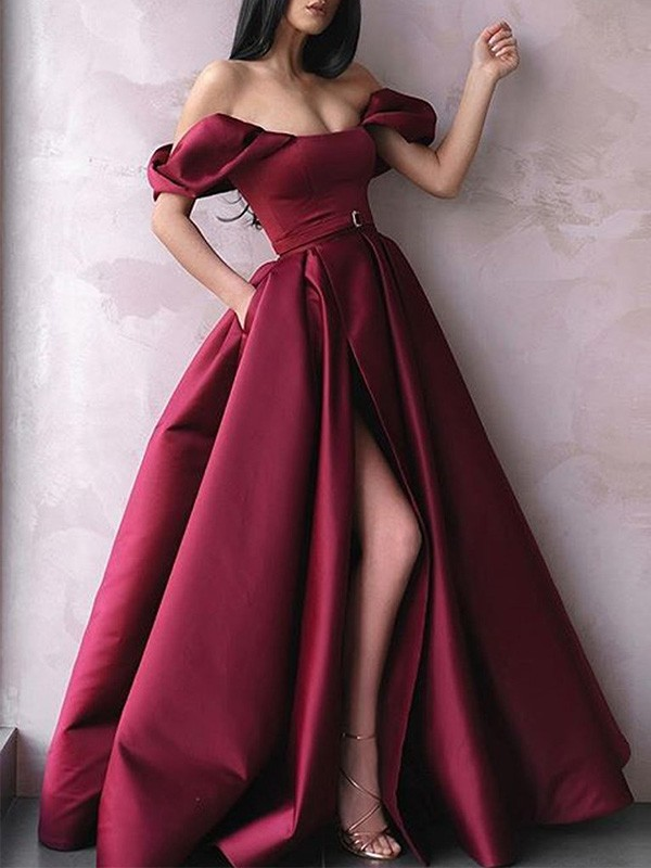 A-Line/Princess Sash/Ribbon/Belt Off-the-Shoulder Satin Floor-Length Sleeveless Dresses