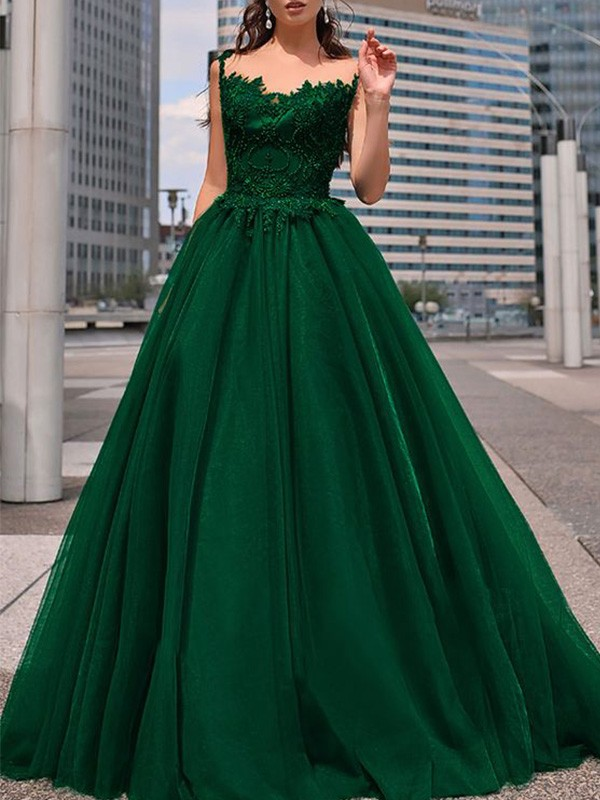 A-Line/Princess Bateau Tulle Beading Floor-Length Sleeveless Dresses