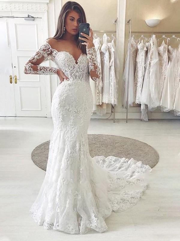 Trumpet/Mermaid Tulle Applique Off-the-Shoulder Long Sleeves Sweep/Brush Train Wedding Dresses
