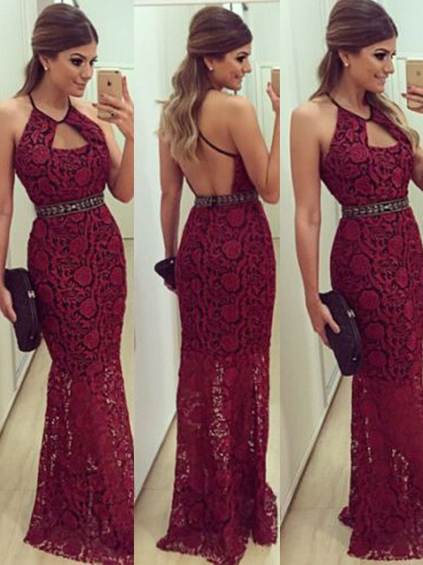 Sheath Lace Halter Sleeveless Floor-Length With Beading Dresses