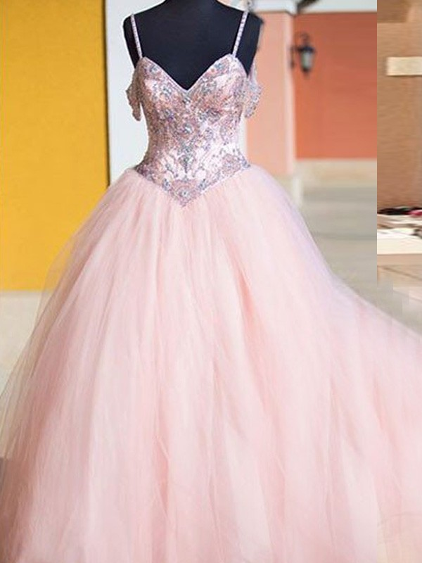 Ball Gown Tulle Spaghetti Straps Sleeveless Floor-Length With Crystal Dresses