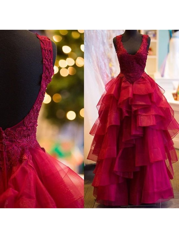 Ball Gown Tulle V-neck Sleeveless Floor-Length With Applique Dresses