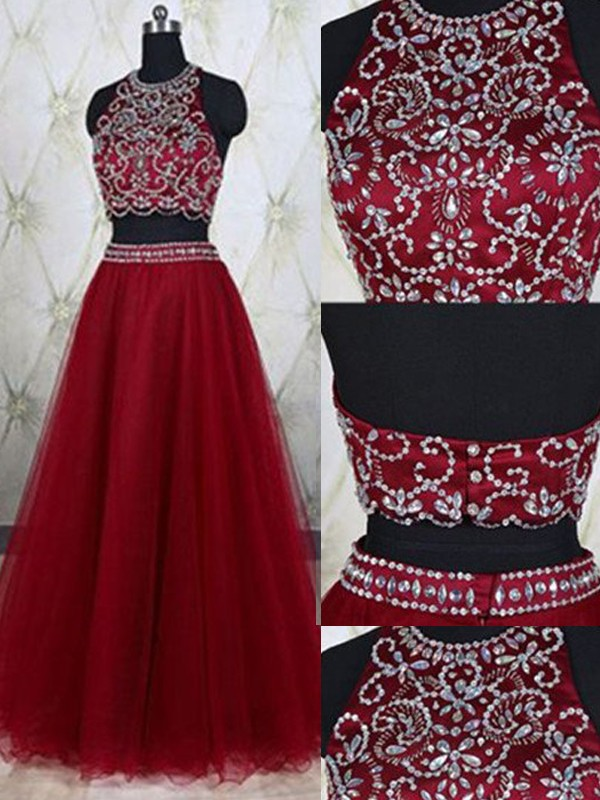 A-Line Tulle Jewel Sleeveless Floor-Length With Beading Two Piece Dresses