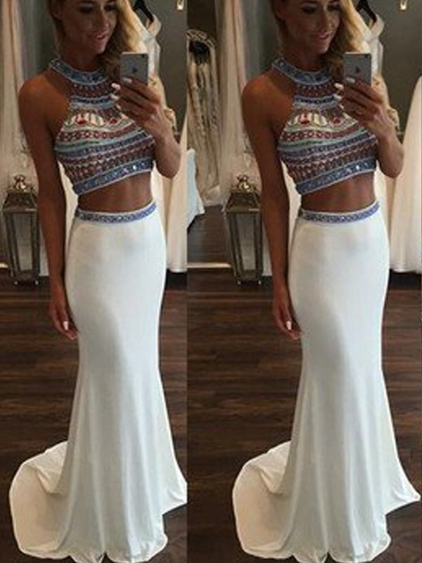 Mermaid Chiffon Halter Sleeveless Sweep/Brush Train With Beading Two Piece Dresses