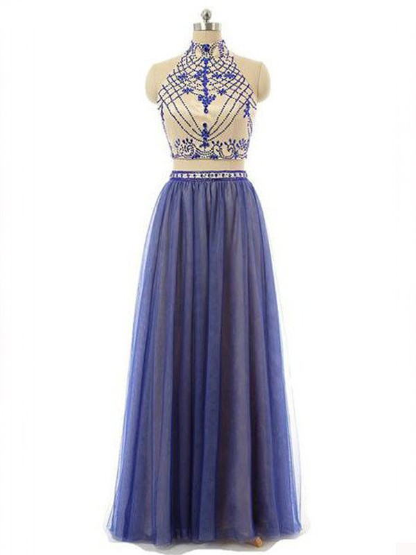 A-Line Chiffon High Neck Sleeveless Floor-Length With Beading Two Piece Dresses