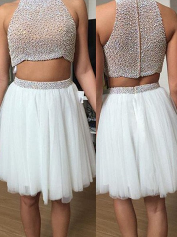 A-Line Tulle High Neck Sleeveless Short/Mini With Beading Two Piece Dresses