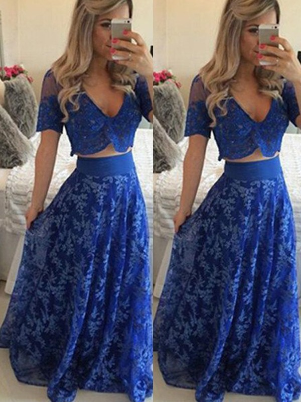 A-Line Lace V-neck Short Sleeves Floor-Length With Lace Two Piece Dresses