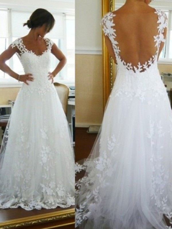 A-Line Tulle V-neck Sleeveless Sweep/Brush Train With Lace Wedding Dresses