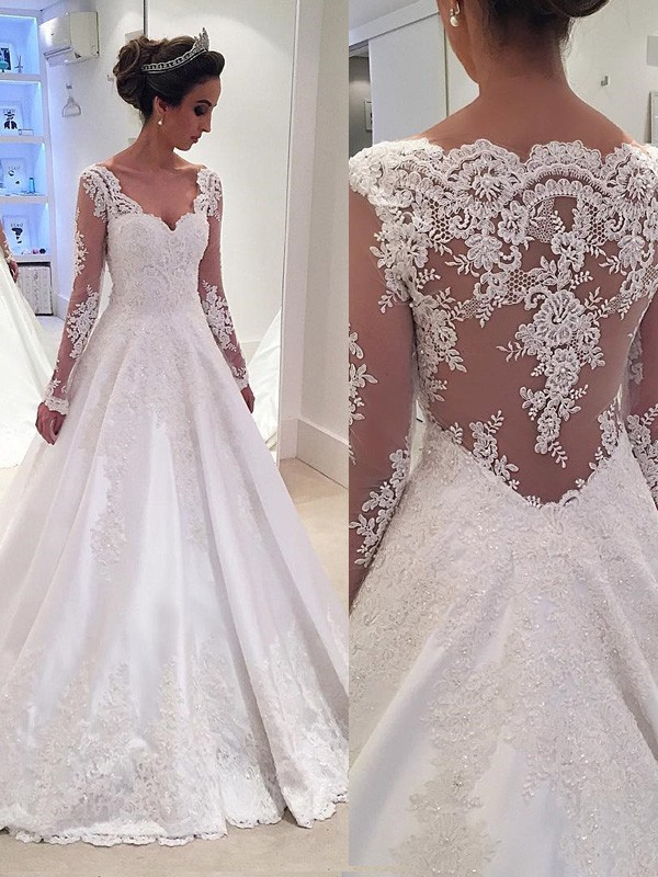 Ball Gown Satin V-neck Long Sleeves Court Train With Lace Wedding Dresses