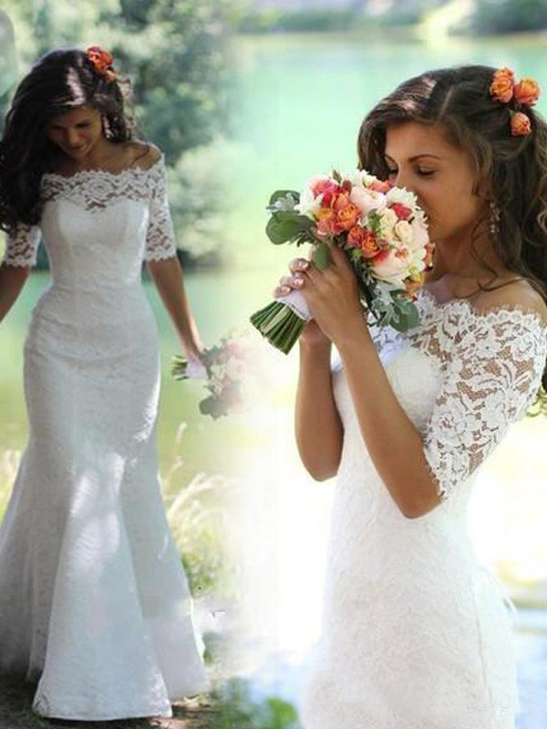 Mermaid Lace Off-the-Shoulder 1/2 Sleeves Sweep/Brush Train With Lace Wedding Dresses