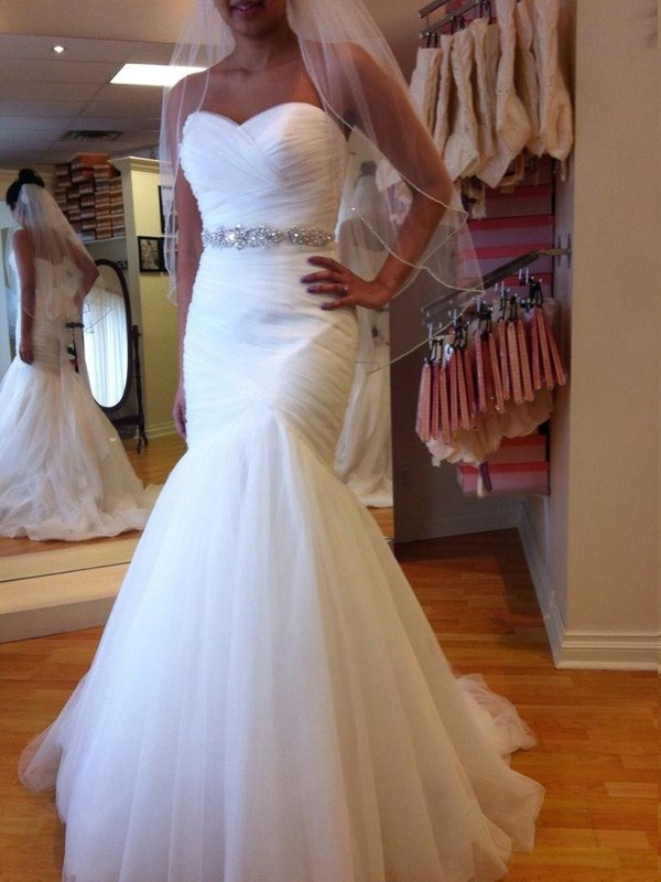 Mermaid Tulle Sweetheart Sleeveless Floor-Length With Beading Wedding Dresses