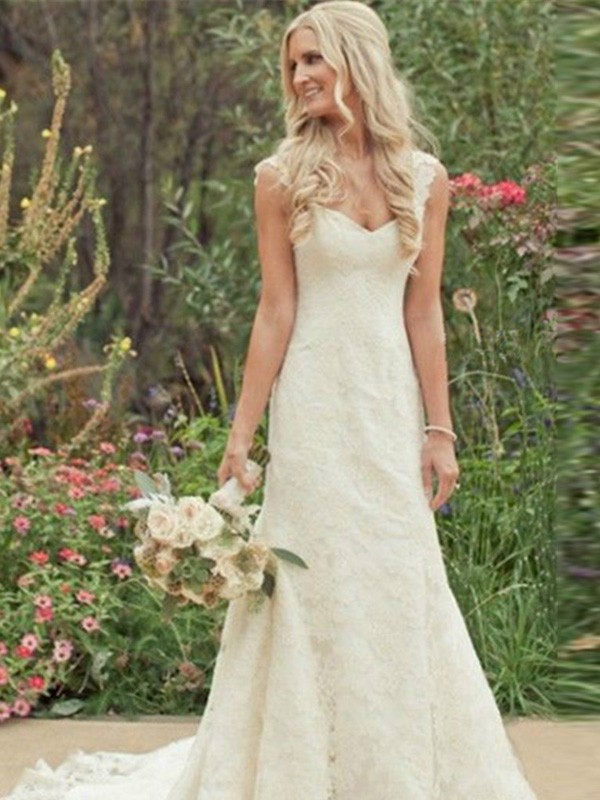 Mermaid Lace V-neck Sleeveless Sweep/Brush Train With Ruffles Wedding Dresses