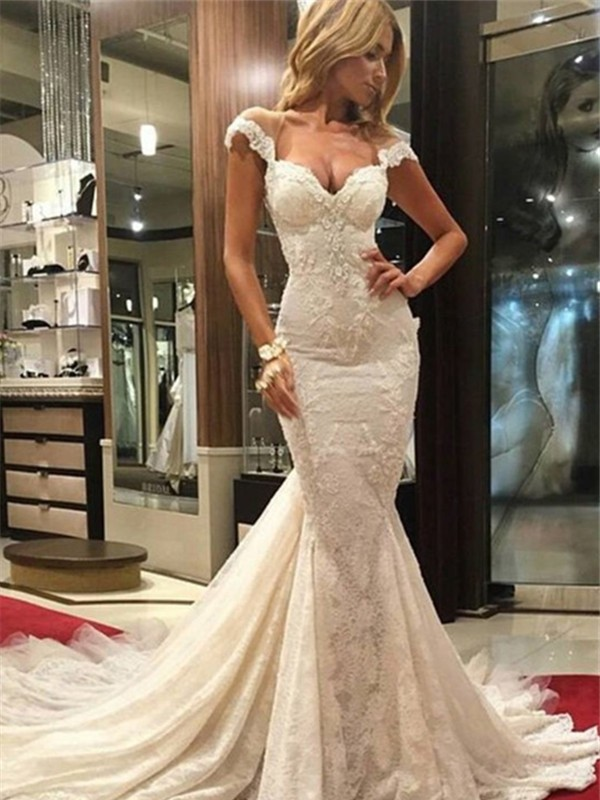 Mermaid Lace V-neck Sleeveless Sweep/Brush Train With Lace Wedding Dresses