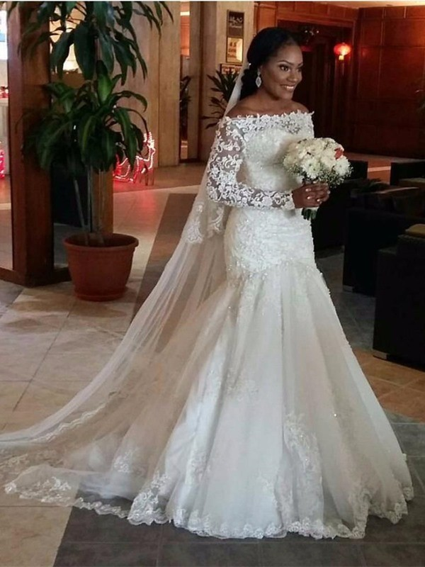Mermaid Tulle Off-the-Shoulder Long Sleeves Sweep/Brush Train With Lace Wedding Dresses