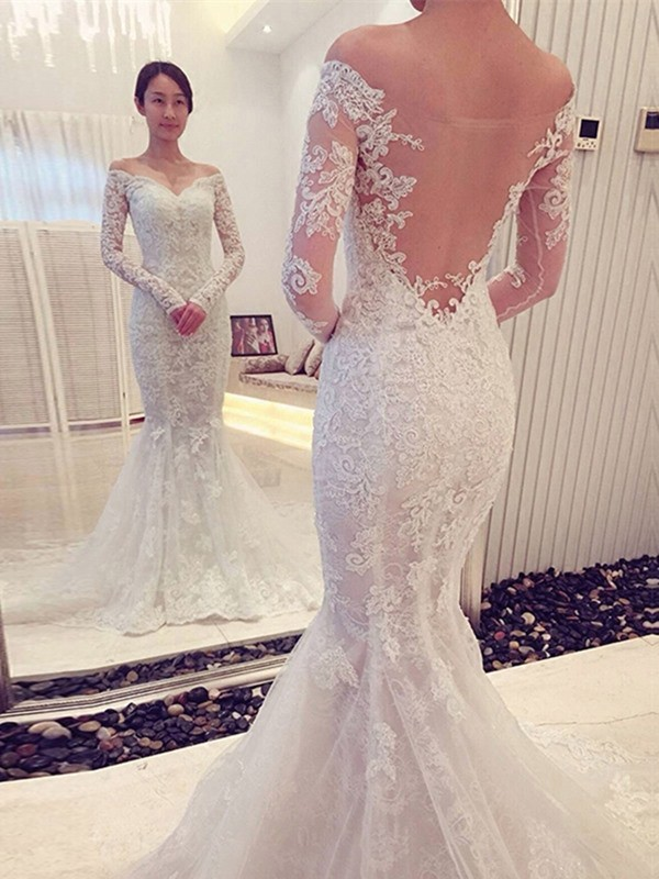 Mermaid Lace Off-the-Shoulder Long Sleeves Sweep/Brush Train With Ruffles Wedding Dresses