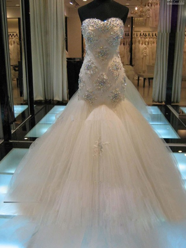 Mermaid Tulle Sweetheart Sleeveless Court Train With Beading Wedding Dresses