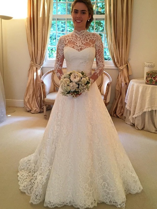 Ball Gown Lace High Neck Long Sleeves Court Train With Lace Wedding Dresses