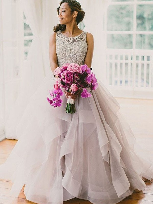 Ball Gown Tulle Scoop Sleeveless Sweep/Brush Train With Beading Wedding Dresses