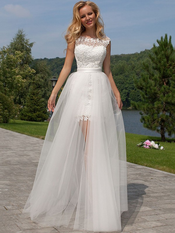 Sheath Tulle Scoop Sleeveless Floor-Length With Lace Wedding Dresses
