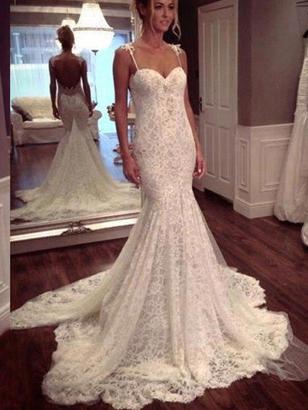 Mermaid Lace Spaghetti Straps Sleeveless Court Train With Lace Wedding Dresses