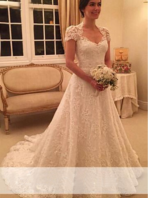 A-Line Lace Sweetheart Short Sleeves Court Train With Lace Wedding Dresses