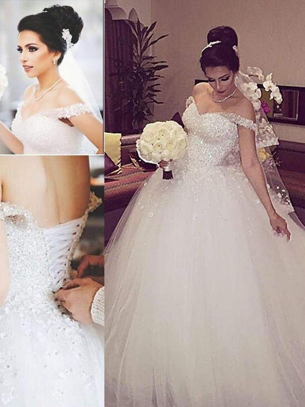 Ball Gown Tulle Off-the-Shoulder Sleeveless Court Train With Lace Wedding Dresses
