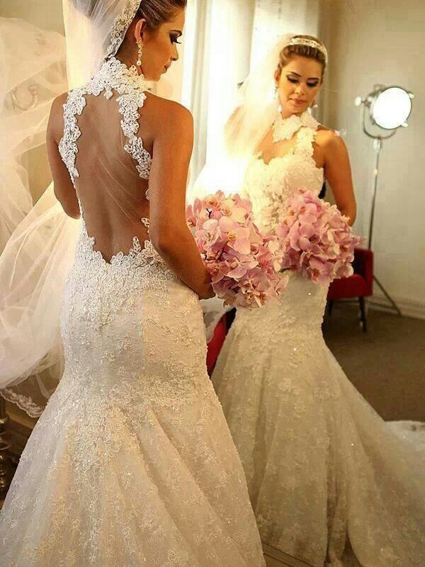 Mermaid Lace High Neck Sleeveless Court Train With Lace Wedding Dresses