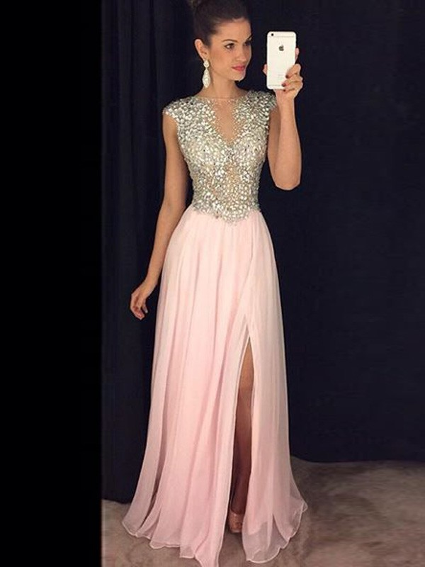 A-Line Chiffon Bateau Sleeveless Floor-Length With Sequin Dresses