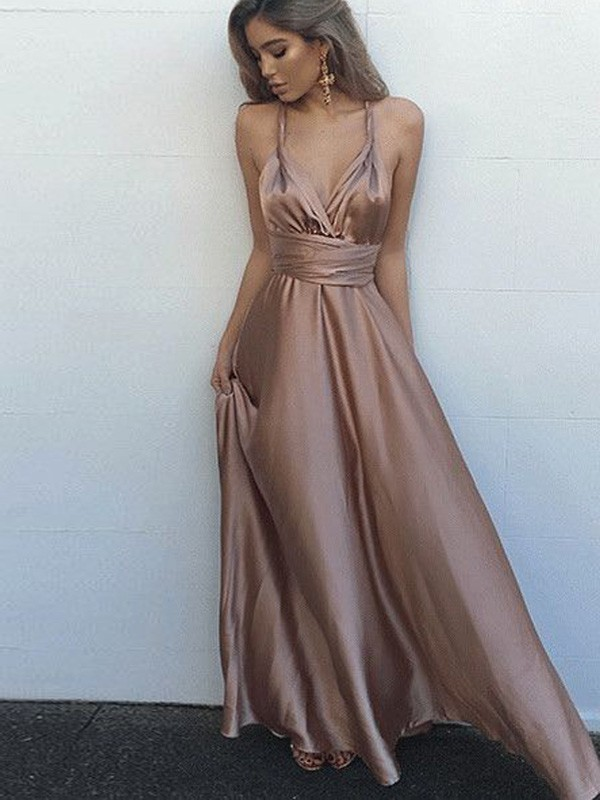 A-Line Silk like Satin Spaghetti Straps Sleeveless Floor-Length With Sash/Ribbon/Belt Dresses