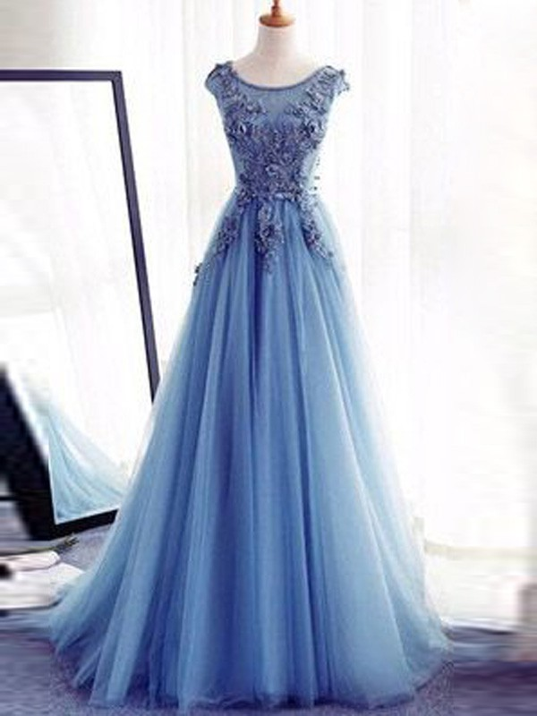Ball Gown Tulle Jewel Sleeveless Sweep/Brush Train With Applique Dresses