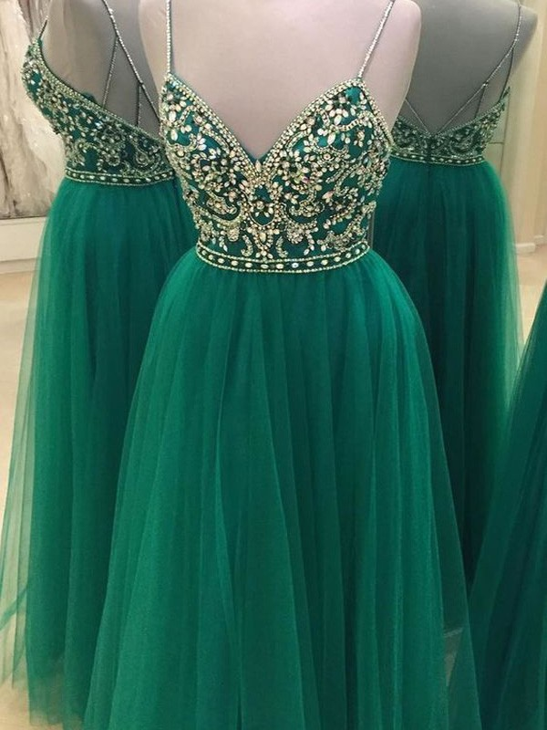 A-Line Tulle Spaghetti Straps Sleeveless Floor-Length With Beading Dresses